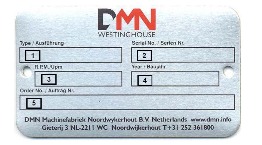 DMN-Westinghouse nameplate